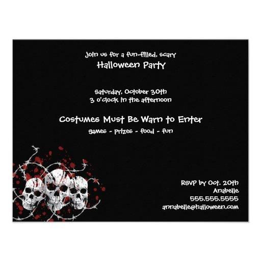 Convites de festas farpados do costume do crânio