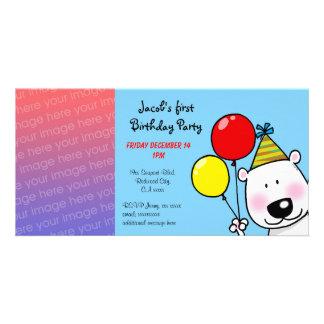 Convites de festas felizes do primeiro aniversario cartão com foto