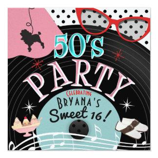 convites de festas gravados os anos 50 do tema do