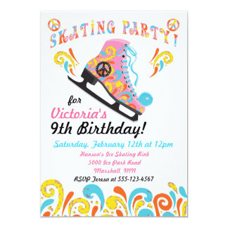 Convites de festas Groovy do patinagem no gelo Convite 12.7 X 17.78cm
