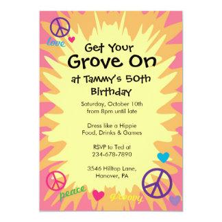 Convites de festas Groovy do tema dos anos 60