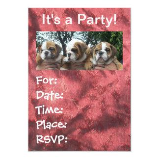 Convites de festas ingleses dos filhotes de