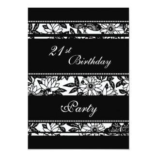 Convites de festas preto e branco do aniversário