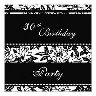 Convites de festas preto e branco do aniversário d