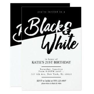 Convites de festas preto e branco do estilo