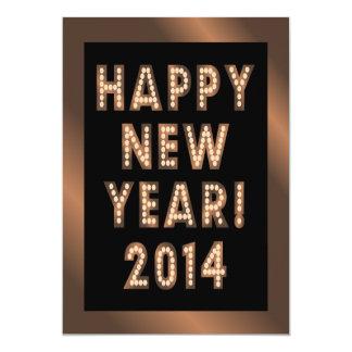 Convites de festas pretos de bronze do feliz ano