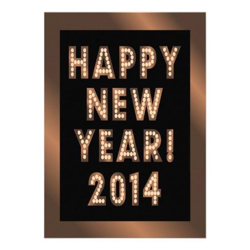 Convites de festas pretos de bronze do feliz ano n