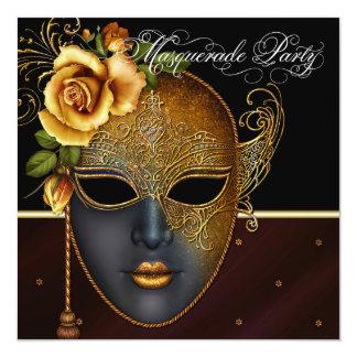 Convites de festas pretos elegantes do mascarada