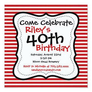 Convites de festas pretos vermelhos do aniversário convite quadrado 13.35 x 13.35cm