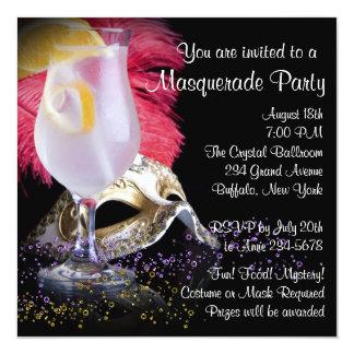 Convites de festas pretos vermelhos do mascarada