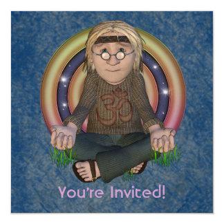 Convites de festas quadrados dos anos 60 do hippy convite quadrado 13.35 x 13.35cm