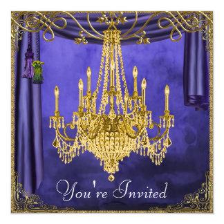 Convites de festas reais do candelabro do ouro dos convite quadrado 13.35 x 13.35cm