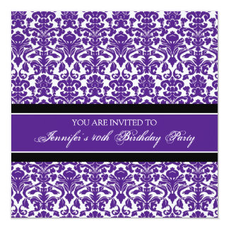 Convites de festas roxos do aniversário de 40 anos