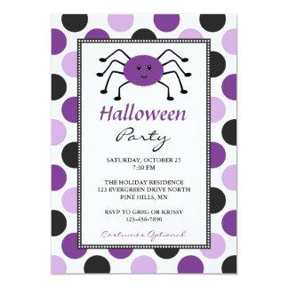 Convites de festas roxos do Dia das Bruxas da