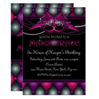 Convites de festas roxos do mascarada