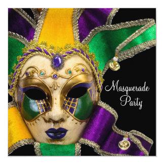 Convites de festas roxos verdes do mascarada do