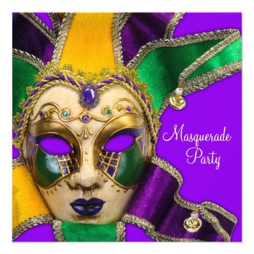 Convites de festas roxos verdes do mascarada do ou