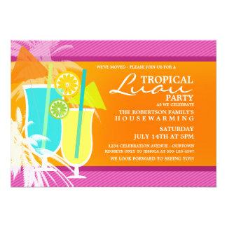 Convites de festas tropicais do Housewarming de Lu