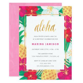 Convites de festas tropicais florais havaianos