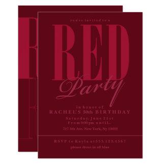 Convites de festas vermelhos brilhantes
