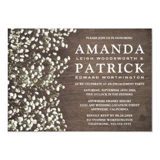 Convites de madeira da festa de noivado da
