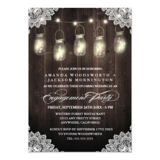 Convites de madeira da festa de noivado do
