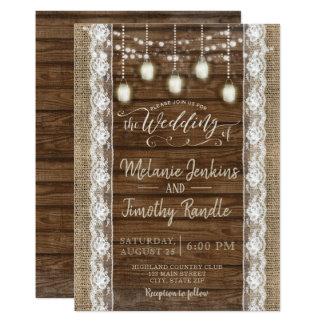 Convites de madeira do casamento do laço de