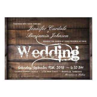 Convites de madeira do casamento do país do