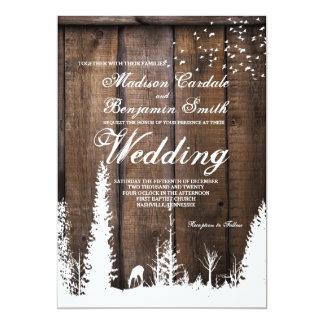 Convites de madeira rústicos do casamento do