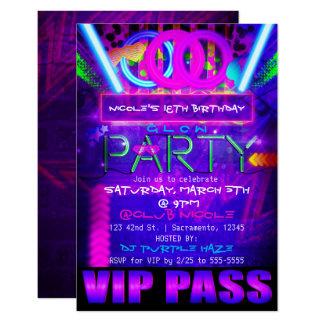 Convites de néon do clube da PASSAGEM do VIP do