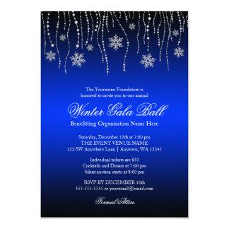 Convites de prata azuis da bola da gala dos flocos