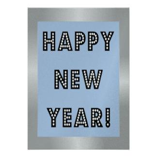Convites de prata azuis do feliz ano novo
