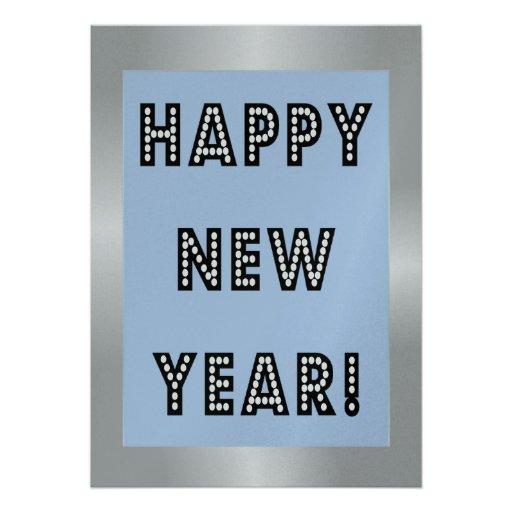 Convites de prata & azuis do feliz ano novo