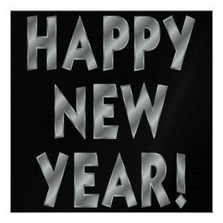 Convites de prata cintilantes do feliz ano novo