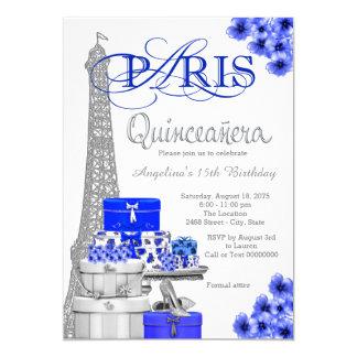 Convites de prata de Paris Quinceanera dos azuis