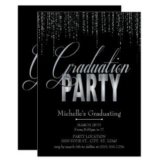 Convites de prata e pretos da festa de formatura