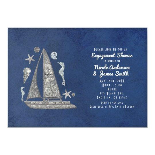 Convites de prata náuticos das coisas do barco &