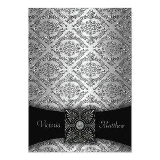 Convites de prata & pretos do casamento tema