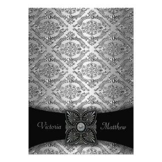 Convites de prata pretos do casamento tema damas