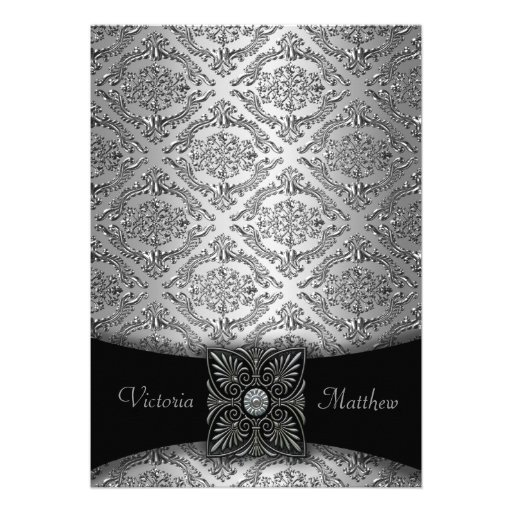 Convites de prata & pretos do casamento tema damas