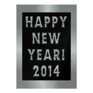 Convites de prata pretos do feliz ano novo 2014