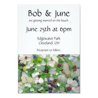 Convites de vidro do casamento da praia