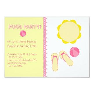 Convites do aniversário da festa na piscina