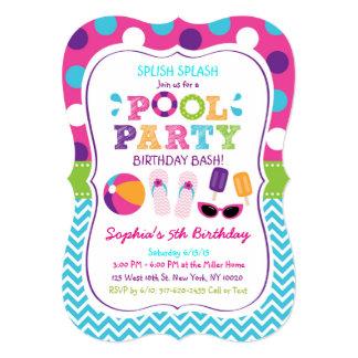 Convites do aniversário da festa na piscina das