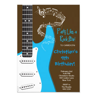Convites do aniversário da guitarra da estrela do convite 12.7 x 17.78cm