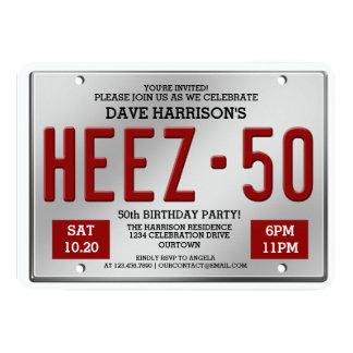 Convites do aniversário da matrícula vermelha 50th