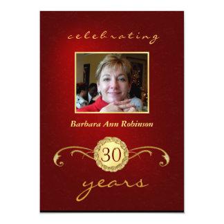 Convites do aniversário de 30 anos - vermelho & convite 12.7 x 17.78cm