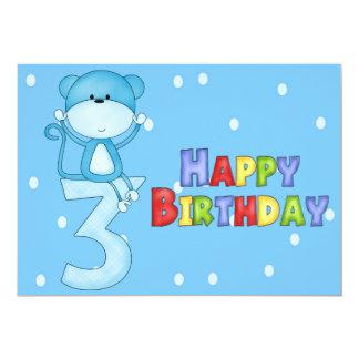 Convites do aniversário de 3 anos do macaco