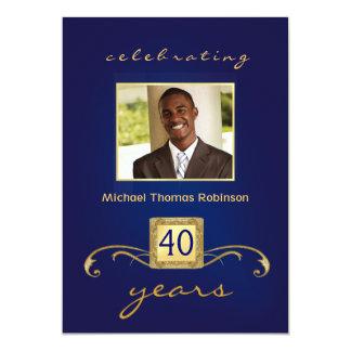 Convites do aniversário de 40 anos - azul & ouro