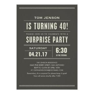 Convites do aniversário de 40 anos da surpresa